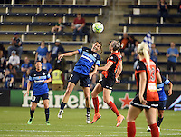 Kansas City, Kansas - Saturday April 16, 2016: FC Kansas City midfielder Mandy Laddish (7) goes for a header against Western New York Flash defender Alanna Kennedy (8) in the second half at Children's Mercy Park. Western New York won 1-0.