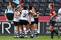 Bristol Bears Women celebrate a try from Merryn Doidge. Tyrrell's Premier 15s match, between Harlequins Ladies and Bristol Bears Women on September 15, 2018 at the Twickenham Stoop in London, England. Photo by: Patrick Khachfe / Onside Images