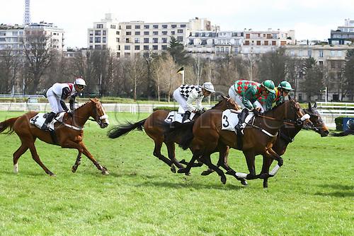 27.03.2016. Auteuil,  Route des Lacs in Paris, France.  Virelan Hurdle (4YO only)  Kevin Nabet - Saint Goustan Blue (3) - Wilfried Denuault - Dottore (5) - Alain de Chitray - Kelforest (4)