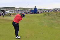 Jon Rahm (ESP) plays his 2nd shot on the 17th hole during Sunday's Final Round of the Dubai Duty Free Irish Open 2019, held at Lahinch Golf Club, Lahinch, Ireland. 7th July 2019.<br /> Picture: Eoin Clarke | Golffile<br /> <br /> <br /> All photos usage must carry mandatory copyright credit (© Golffile | Eoin Clarke)