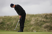 Marcel Siem playing the 14th after play restarted on day 3 at the 3 Irish open in Co Louth Golf Club...Photo: Fran Caffrey/www.golffile.ie..