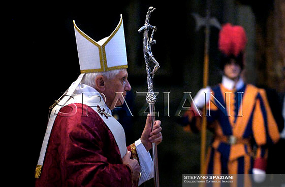 Pope Benedict XVI, 2nd left, presides over the funeral Mass for late Cardinal Angelo Felici in St. Peter's Basilica, at the Vatican,..June 19, 2007... ..
