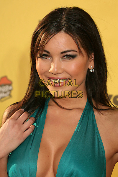 "LISA KIM FLEMING.Spike TV's ""Guy Choice"" Awards - Arrivals at Radford Studios, Studio City, California, USA..June 9th, 2007.headshot portrait cleavage halterneck green turquoise hand.CAP/ADM/BP.©Byron Purvis/AdMedia/Capital Pictures"