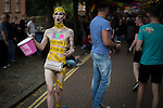 © Joel Goodman - 07973 332324 . 26/08/2016 . Manchester , UK . Revellers on Canal Street in Manchcester's Gay Village for 2016 Manchester Gay Pride Big Weekend . Photo credit : Joel Goodman