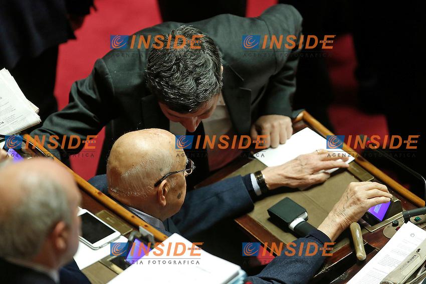 Giorgio Napolitano e Andrea Orlando<br /> Roma 02-02-2016 Senato. Voto delle pregiudiziali di costituzionalit&agrave;' sul DDL Unioni Civili.<br /> Senate. Debate about the Decree law on civil unions.<br /> Photo Samantha Zucchi Insidefoto