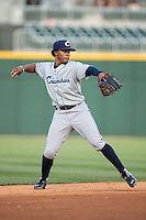 Columbus Clippers shortstop Francisco Lindor (12) warms up between innings of the game against the Charlotte Knights at BB&T BallPark on May 27, 2015 in Charlotte, North Carolina.  The Clippers defeated the Knights 9-3.  (Brian Westerholt/Four Seam Images)