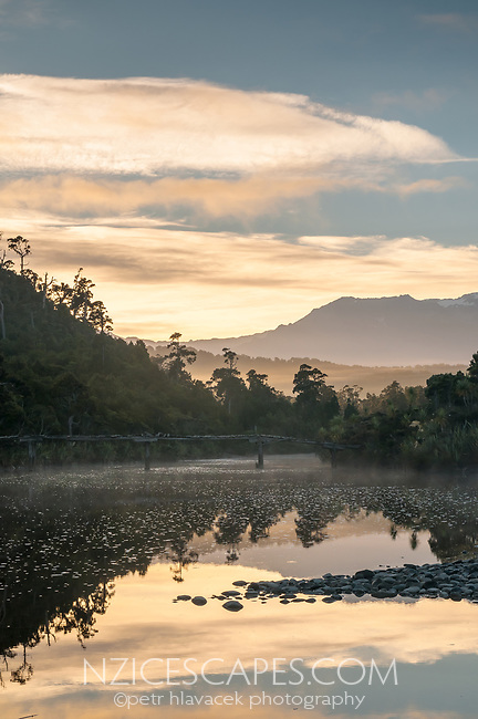 Five Mile Creek near Okarito with  old bridge at sunrise, Westland Tai Poutini National Park, West Coast, UNESCO World Heritage Area, New Zealand, NZ