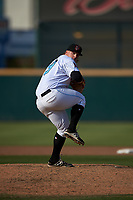 Inland Empire 66ers relief pitcher Jonah Wesely (19) delivers a pitch during a California League game against the Lancaster JetHawks at San Manuel Stadium on May 20, 2018 in San Bernardino, California. Inland Empire defeated Lancaster 12-2. (Zachary Lucy/Four Seam Images)