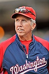 24 July 2012: Washington Nationals Manager Davey Johnson watches batting practice prior to a game against the New York Mets at Citi Field in Flushing, NY. The Nationals defeated the Mets 5-2 to take the second game of their 3-game series. Mandatory Credit: Ed Wolfstein Photo