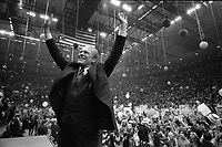 President Gerald Ford campaigning at the Nassau County Veterans Coliseum in Hempstead, New York before returning to Michigan for the final days of the election campaign.31 October 1976