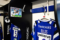 A general view of the matchday jersey of Tom Ellis of Bath Rugby, hung up in the changing rooms. Gallagher Premiership match, between Bath Rugby and Wasps on May 5, 2019 at the Recreation Ground in Bath, England. Photo by: Patrick Khachfe / Onside Images