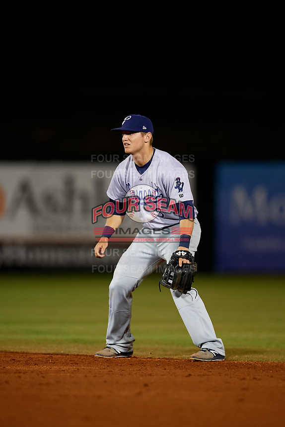 Pensacola Blue Wahoos second baseman Josh VanMeter (3) during a game against the Mobile BayBears on April 25, 2017 at Hank Aaron Stadium in Mobile, Alabama.  Mobile defeated Pensacola 3-0.  (Mike Janes/Four Seam Images)