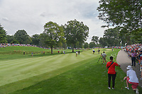 The immense gallery following Jason Day (AUS) and Tiger Woods (USA) was at least 10 people deep on both sides of the first two holes during 2nd round of the World Golf Championships - Bridgestone Invitational, at the Firestone Country Club, Akron, Ohio. 8/3/2018.<br /> Picture: Golffile | Ken Murray<br /> <br /> <br /> All photo usage must carry mandatory copyright credit (© Golffile | Ken Murray)