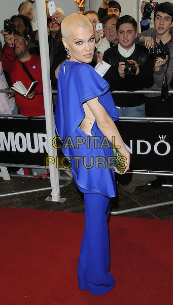 Jessie J ( Jessica Ellen Cornish )<br /> The Glamour Women Of The Year Awards 2013, Berkeley Square Gardens, London, England.<br /> June 4th, 2013<br /> full length dress blue shaved head bleach dyed blonde hair green clutch bag trousers looking over shoulder side<br /> CAP/CAN<br /> &copy;Can Nguyen/Capital Pictures