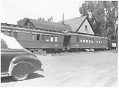 RGS outfit coaches #0252 &amp; #0260 behind the Ridgway General Office.<br /> RGS  Ridgway, CO  ca 1950