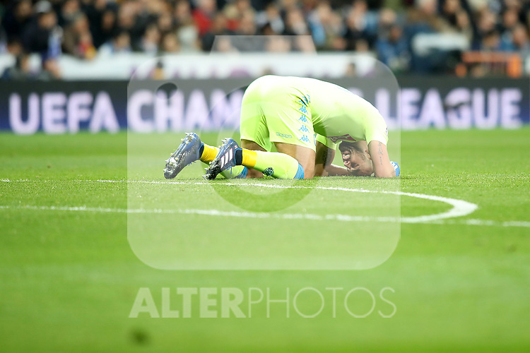 SSC Napoli's Pepe Reina dejected during Champions League 2016/2017 Round of 16 1st leg match. February 15,2017. (ALTERPHOTOS/Acero)