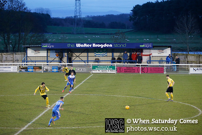 Hebburn start the second half in front of The Walter Brogden Stand. Penrith AFC V Hebburn Town, Northern League Division One, 22nd December 2018. Penrith are the only Cumbrian team in the Northern League. All the other teams are based across the Pennines in the north east.<br /> Penrith, winless at kick off, lost a thriller 3-4, in front of 100 people. They won five games all season, but were reprieved from relegation following Blyth's resignation from the league.