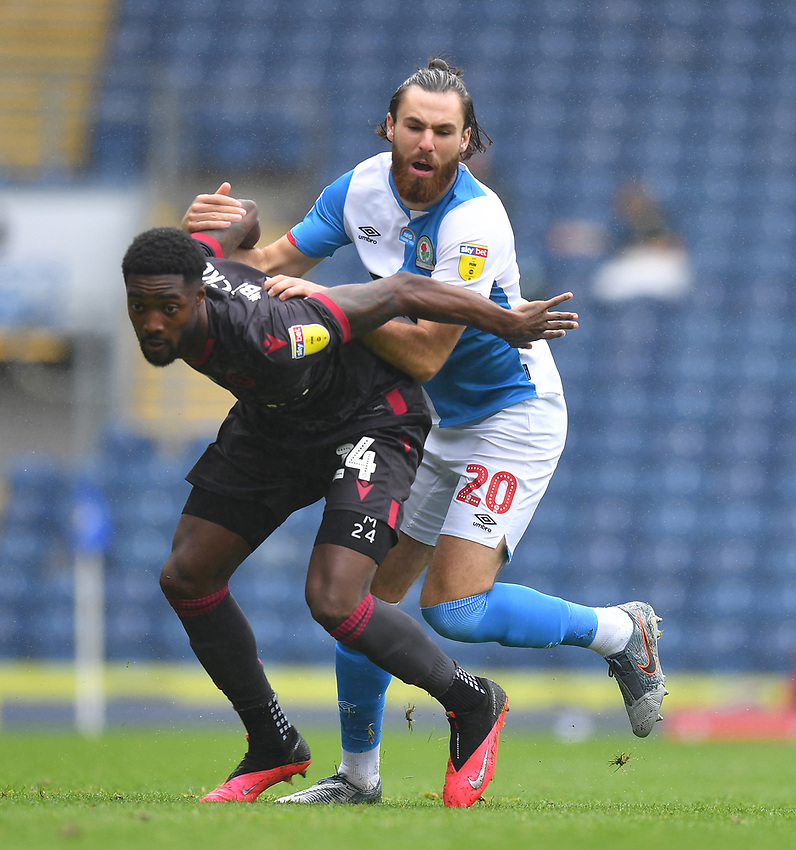 Blackburn Rovers' Ben Brereton battles with Reading's Tyler Blackett<br /> <br /> Photographer Dave Howarth/CameraSport<br /> <br /> The EFL Sky Bet Championship - Blackburn Rovers v Reading - Saturday 18th July 2020 - Ewood Park - Blackburn<br /> <br /> World Copyright © 2020 CameraSport. All rights reserved. 43 Linden Ave. Countesthorpe. Leicester. England. LE8 5PG - Tel: +44 (0) 116 277 4147 - admin@camerasport.com - www.camerasport.com