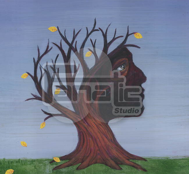 Conceptual image of deciduous tree depicting Alzheimer's disease