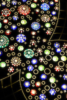 Elevator decorated with Edokiriko representing fireworks, Tokyo Sky Tree, Tokyo, Japan, January 15, 2015. Edokiriko is a style of cut glass that dates back to 1834 and is similar to British cut glass. It makes use coloured glass and highly-intricate Japanese motifs.