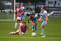 Kansas City, MO - Friday May 13, 2016: FC Kansas City midfielder Mandy Laddish (7) against Chicago Red Stars midfielder Danielle Colaprico (24) and midfielder Amanda Da Costa (13) during a regular season National Women's Soccer League (NWSL) match at Swope Soccer Village. The match ended 0-0.