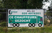 Nederland  Amsterdam  2019. Vrachtwagen chauffeurs gezocht.  Foto Berlinda van Dam / Hollandse Hoogte