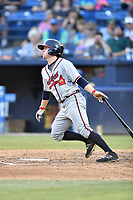 Rome Braves shortstop Riley Delgado (8) swings at a pitch during a game against the Asheville Tourists at McCormick Field on June 7, 2018 in Asheville, North Carolina. The Braves defeated the Tourists 8-6. (Tony Farlow/Four Seam Images)