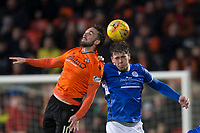 16th November 2019; Tannadice Park, Dundee, Scotland; Scottish Championship Football, Dundee United versus Queen of the South; Nicky Clark of Dundee United competes in the air with Callum Semple of Queen of the South  - Editorial Use