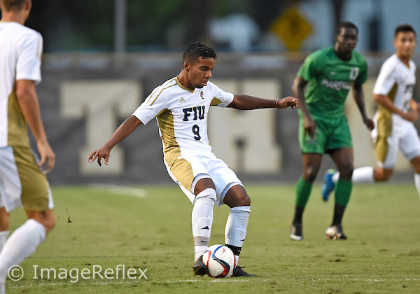 Florida International University men's soccer midfielder Ismael Longo (9) plays against Marshall University. FIU won the match 5-1 on September 26, 2015 at Miami, Florida.