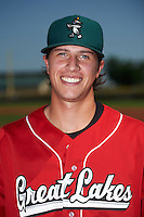 Great Lakes Loons pitcher Andrew Sopko (50) poses for a photo before a game against the Clinton LumberKings on August 16, 2015 at Ashford University Field in Clinton, Iowa.  Great Lakes defeated Clinton 3-2 in ten innings.  (Mike Janes/Four Seam Images)
