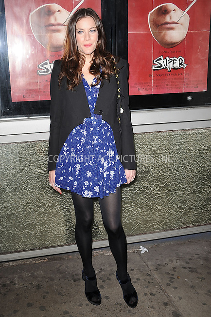 """WWW.ACEPIXS.COM . . . . . .March 30, 2011...New York City...Liv Tyler attends the """"Super"""" New York Screening at the IFC Center on  March 30, 2011 in New York City....Please byline: KRISTIN CALLAHAN - ACEPIXS.COM.. . . . . . ..Ace Pictures, Inc: ..tel: (212) 243 8787 or (646) 769 0430..e-mail: info@acepixs.com..web: http://www.acepixs.com ."""