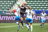 Katie Larkin #18 of the Los Angeles Sol leaps to control a loose ball against the Boston Breakers during thier WPS game at Home Depot Center on May 10, 2009 in Carson, California.
