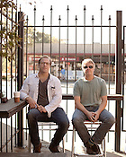 October 5, 2012. Carrboro, North Carolina.. Yep Roc Records owners Tor Hansen (left) and Glenn Dicker, photographed at Miltown. . Yep Roc Records celebrates it's 15th anniversary next week with a series of shows around Chapel Hill and Carrboro.