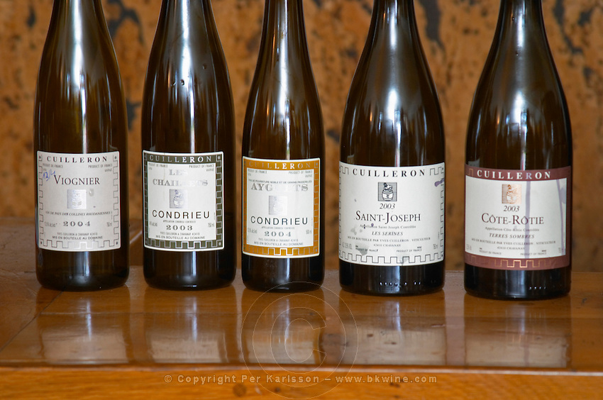 Cuilleron's selection: Viognier, Les Chaillets Condrieu, Ayguets sweet (noble rot) Condrieu, Saint Joseph Les Serines (synonym for Syrah) and Cote Rotie Terres Sombres. Domaine Yves Cuilleron, Chavanay, Ampuis, Rhone, France, Europe