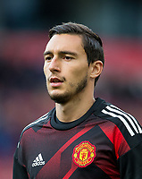 Matteo Darmian of Man Utd warms up pre match during the Premier League match between Stoke City and Manchester United at the Britannia Stadium, Stoke-on-Trent, England on 9 September 2017. Photo by Andy Rowland.