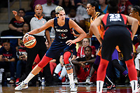Washington, DC - July 30, 2019: Washington Mystics forward Elena Delle Donne (11) drives to the basket guarded by Phoenix Mercury forward DeWanna Bonner (24) during first half action of game between the Phoenix Mercury and Washington Mystics at the Entertainment & Sports Arena in Washington, DC. (Photo by Phil Peters/Media Images International)