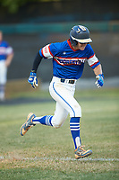 Mason Staz (12) of Mooresville Post 66 hustles down the first base line against Kannapolis Post 115 during an American Legion baseball game at Northwest Cabarrus High School on May 30, 2019 in Concord, North Carolina. Mooresville Post 66 defeated Kannapolis Post 115 4-3. (Brian Westerholt/Four Seam Images)