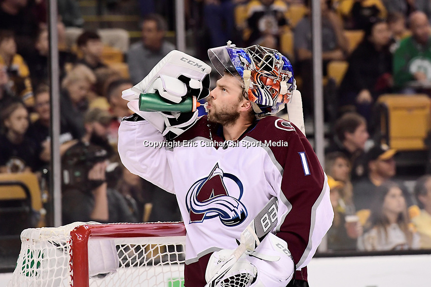 October 9, 2017: Colorado Avalanche goalie Semyon Varlamov (1) gets a break during the NHL game between the Colorado Avalanche and the Boston Bruins held at TD Garden, in Boston, Mass. Colorado defeats Boston 4-0. Eric Canha/CSM