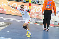 25.01.2013 Barcelona, Spain. IHF men's world championship, Semi-final. Picture show Jesper Noddesbo  in action during game between Spain vs Slovenia at Palau St. Jordi
