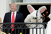 United States President Donald Trump makes remarks as he attends the annual Easter Egg Roll on the South Lawn of the White House  in Washington, DC, on April 17, 2017. <br /> Credit: Olivier Douliery / Pool via CNP
