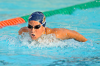 15 October 2010:  FIU's Kariann Stevens competes in the 100 yard butterfly during the meet between the FIU Golden Panthers and the University of Miami Hurricanes at the Norman Whitten Student Union Pool in Coral Gables, Florida.
