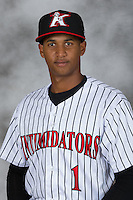 Kannapolis Intimidators infielder Johan Cruz (1) poses for a photo at Kannapolis Intimidators Stadium on April 5, 2016 in Kannapolis, North Carolina.  (Brian Westerholt/Four Seam Images)