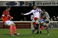 Reece Grant of Dagenham tangles with Chris Dunn of Maidenhead during Dagenham & Redbridge vs Maidenhead United, Vanarama National League Football at the Chigwell Construction Stadium on 7th December 2019