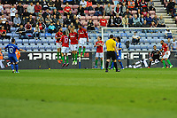 Tuesday, 7 May 2013<br /><br />Pictured: Swansea City Defend a Wigan free Kick<br /><br />Re: Barclays Premier League Wigan Athletic v Swansea City FC  at the DW Stadium, Wigan