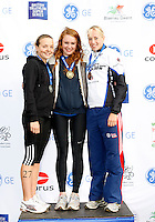 Photo: Richard Lane/Richard Lane Photography. GE Parc Bryn Bach Triathlon. 19/09/2010. (lt to rt) Lucy Smith (2nd), Lucy Hall (1st) and Lucy Chittenden (3rd) after the Junior Super Series Females' race.