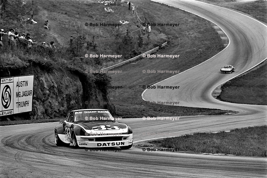 Sam Posey drives a Datsun 260Z during a Camel GT IMSA race at Road Atlanta near Flowery Branch, Georgia, on April 17 1977. (Photo by Bob Harmeyer)