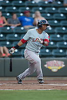Rafael Devers (13) of the Salem Red Sox follows through on his swing against the Winston-Salem Dash at BB&T Ballpark on June 16, 2016 in Winston-Salem, North Carolina.  The Dash defeated the Red Sox 7-1.  (Brian Westerholt/Four Seam Images)
