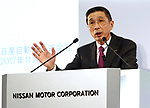 November 8, 2017, Yokohama, Japan - Japanese automobile giant Nissan Motor president Hiroto Saikawa announces the company's first half financial result and the new midterm business strategy at the Nissan headquarters in Yokohama, suburban Tokyo on Wednesday, November 8, 2017. Saikawa apologized that the company carried out flawed inspections of their vehicles.    (Photo by Yoshio Tsunoda/AFLO) LWX -ytd-