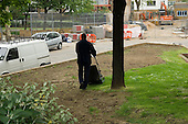 Grounds maintenance on Westminster City Council's Lisson Green Estate in Marylebone, London.