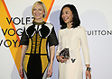 "April 21, 2016, Tokyo, Japan - Australian actress Cate Blanchett )L smiles with Japanese actress Yoshino Kimura during a photo call for the reception of Louis Vuitton's art exhibition in Tokyo on Thursday, April 21, 2016. French luxury barnd Luis Vuitton will hold the exhibition ""Volez, Voguez, Voyagez"" in Tokyo from April 23 through June 19.  (Photo by Yoshio Tsunoda/AFLO) LWX -ytd-"